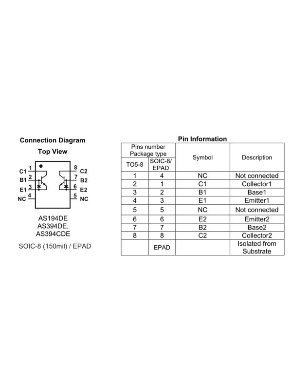 AS194DE - Matched NPN Transistor Pair (SOIC-8 / EPAD)   Alfa