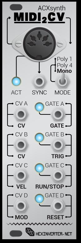 MIDI2CV - HexInverter DIY MIDI Interface