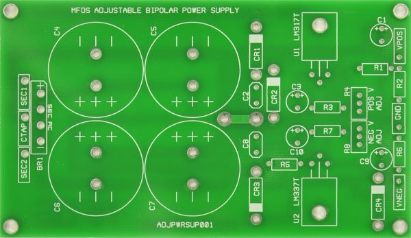 MFOS Adjustable Bipolar Power Supply PCB