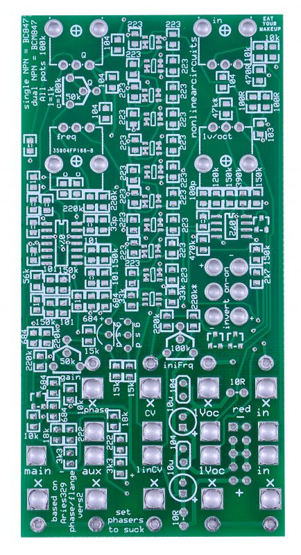 Nonlinearcircuits DIY Phaser/Flanger PCB