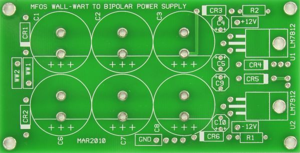 MFOS Wall Wart Bipolar Power Supply PCB